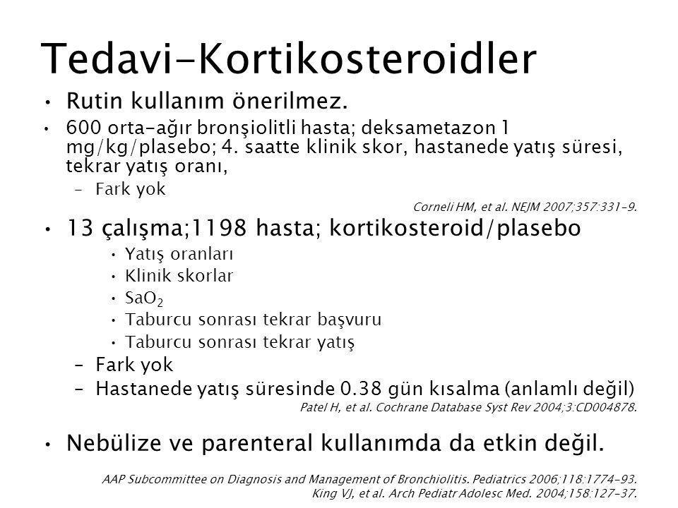 Tedavi-Kortikosteroidler Rutin kullanım önerilmez. 600 orta-ağır bronşiolitli hasta; deksametazon 1 mg/kg/plasebo; 4. saatte klinik skor, hastanede ya