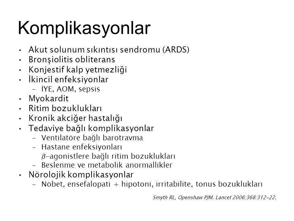 Komplikasyonlar Akut solunum sıkıntısı sendromu (ARDS) Bronşiolitis obliterans Konjestif kalp yetmezliği İkincil enfeksiyonlar –İYE, AOM, sepsis Myoka