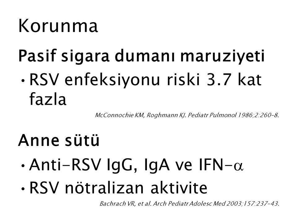 Korunma Pasif sigara dumanı maruziyeti RSV enfeksiyonu riski 3.7 kat fazla McConnochie KM, Roghmann KJ. Pediatr Pulmonol 1986;2:260–8. Anne sütü Anti-