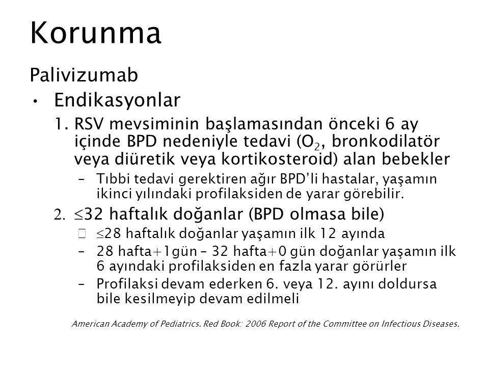 Korunma Palivizumab Endikasyonlar 1.RSV mevsiminin başlamasından önceki 6 ay içinde BPD nedeniyle tedavi (O 2, bronkodilatör veya diüretik veya kortik