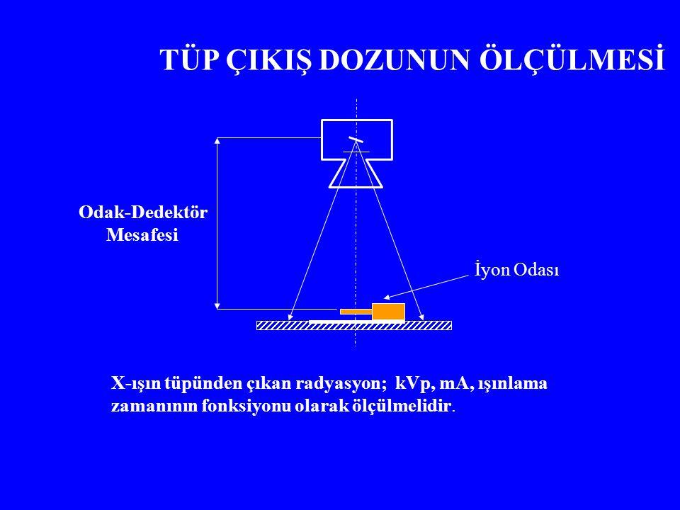 İyon Odası TÜP ÇIKIŞ DOZUNUN ÖLÇÜLMESİ X-ışın tüpünden çıkan radyasyon; kVp, mA, ışınlama zamanının fonksiyonu olarak ölçülmelidir. Odak-Dedektör Mesa