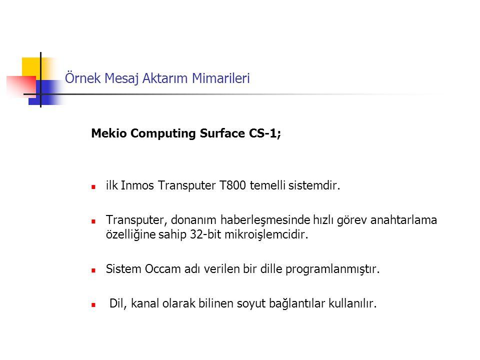 Örnek Mesaj Aktarım Mimarileri Mekio Computing Surface CS-1; ilk Inmos Transputer T800 temelli sistemdir. Transputer, donanım haberleşmesinde hızlı gö
