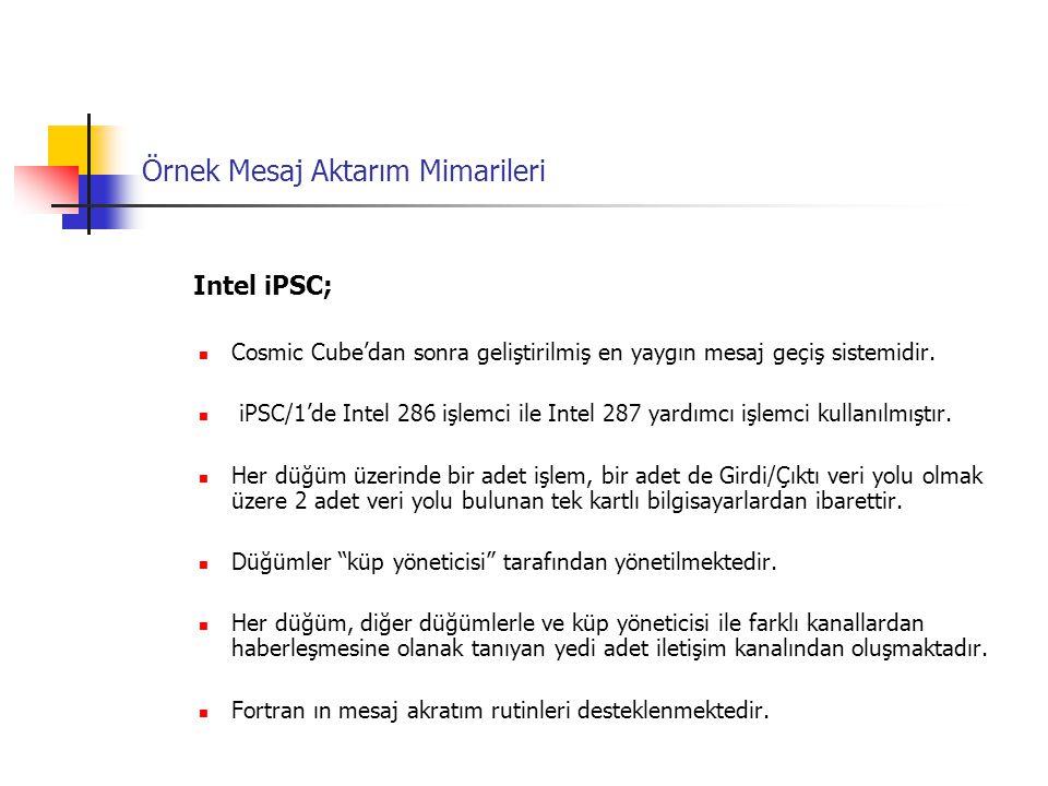 Örnek Mesaj Aktarım Mimarileri Intel iPSC; Cosmic Cube'dan sonra geliştirilmiş en yaygın mesaj geçiş sistemidir. iPSC/1'de Intel 286 işlemci ile Intel