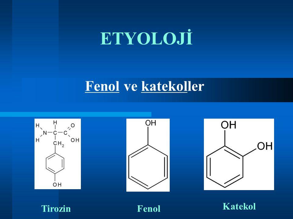 ETYOLOJİ Fenol ve katekoller TirozinFenol Katekol