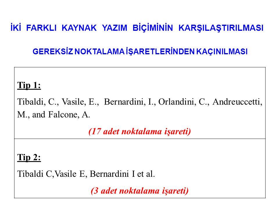 İKİ FARKLI KAYNAK YAZIM BİÇİMİNİN KARŞILAŞTIRILMASI GEREKSİZ NOKTALAMA İŞARETLERİNDEN KAÇINILMASI Tip 1: Tibaldi, C., Vasile, E., Bernardini, I., Orla