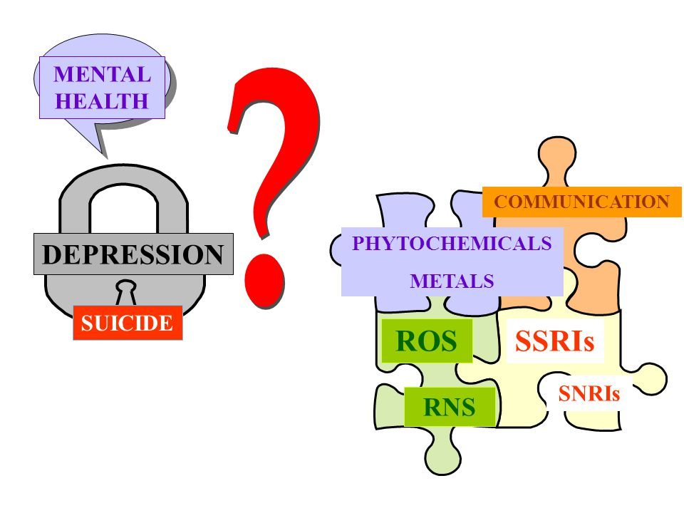 DEPRESSION MENTAL HEALTH COMMUNICATION PHYTOCHEMICALS METALS ROSSSRIs RNS SNRIs SUICIDE