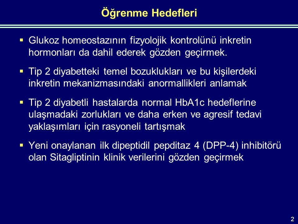 İnkretin Hormonları insülin ve Glukagon Düzeylerini Düzenler GLP-1 = glukagon benzeri peptid-1; GIP = glukoza bağlı insülinotropik polipeptid Kieffer T.