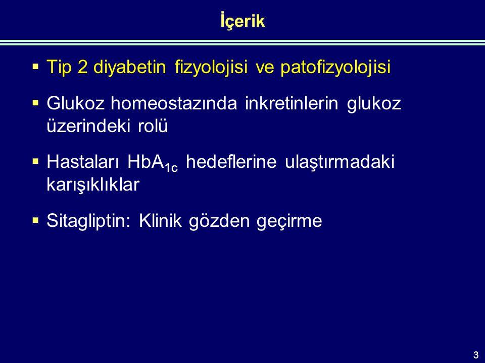 İçerik  Tip 2 diyabetin fizyolojisi ve patofizyolojisi  Glukoz homeostazında inkretinlerin glukoz üzerindeki rolü  Hastaları HbA 1c hedeflerine ulaştırmadaki karışıklıklar  Sitagliptin: Klinik gözden geçirme 3