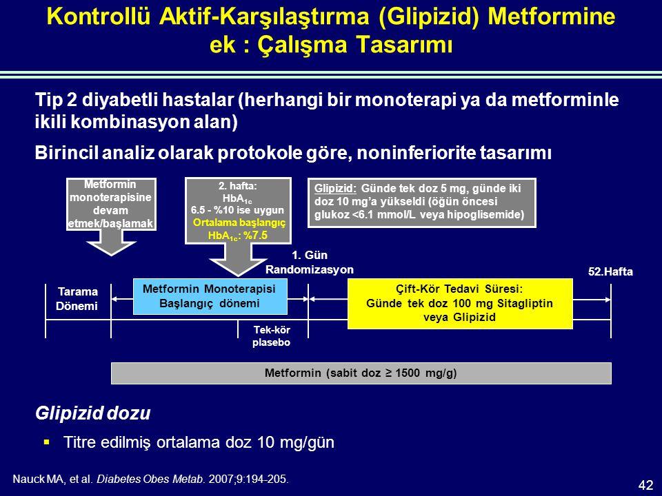 Kontrollü Aktif-Karşılaştırma (Glipizid) Metformine ek : Çalışma Tasarımı Tip 2 diyabetli hastalar (herhangi bir monoterapi ya da metforminle ikili kombinasyon alan) Birincil analiz olarak protokole göre, noninferiorite tasarımı Glipizid dozu  Titre edilmiş ortalama doz 10 mg/gün Nauck MA, et al.