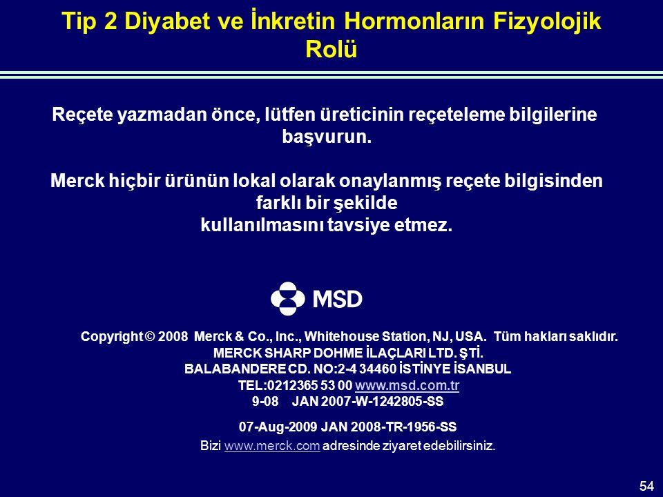Tip 2 Diyabet ve İnkretin Hormonların Fizyolojik Rolü Reçete yazmadan önce, lütfen üreticinin reçeteleme bilgilerine başvurun.