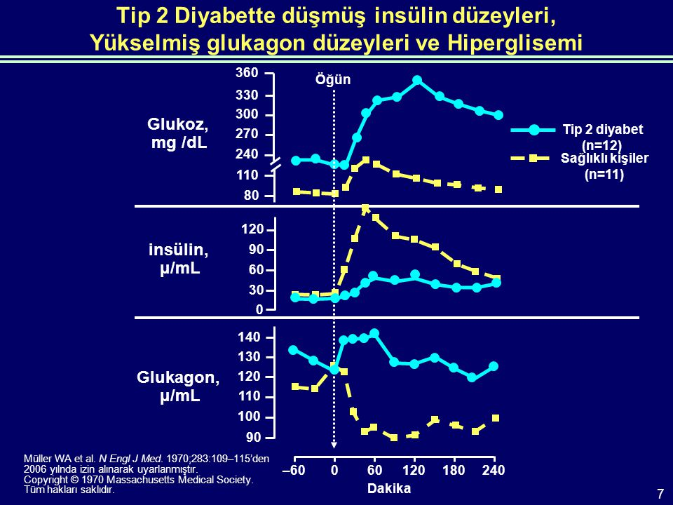 Tip 2 Diyabette düşmüş insülin düzeyleri, Yükselmiş glukagon düzeyleri ve Hiperglisemi Müller WA et al.