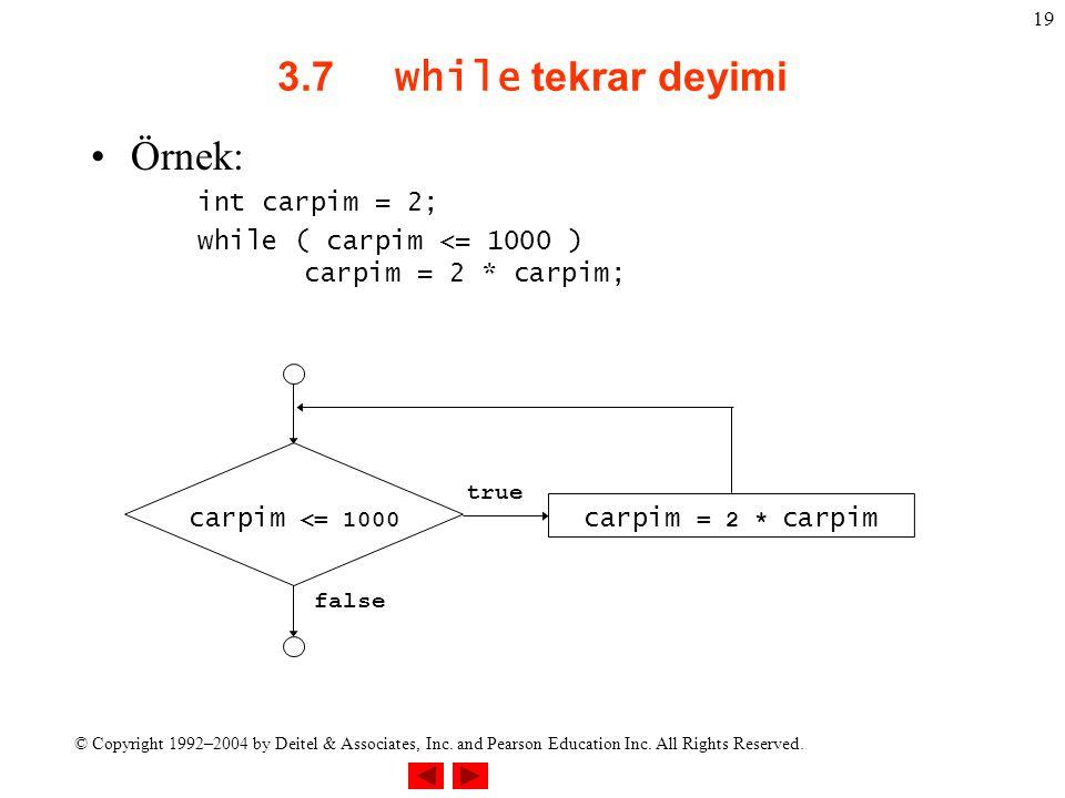 © Copyright 1992–2004 by Deitel & Associates, Inc. and Pearson Education Inc. All Rights Reserved. 19 3.7 while tekrar deyimi Örnek: int carpim = 2; w