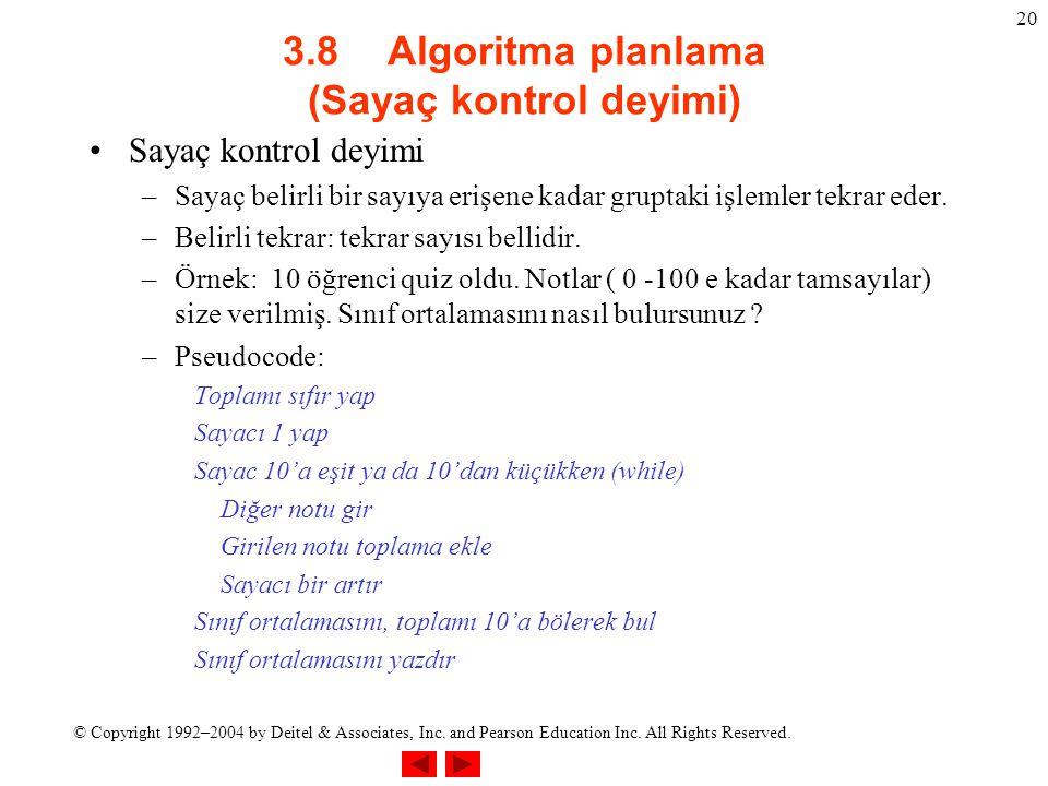 © Copyright 1992–2004 by Deitel & Associates, Inc. and Pearson Education Inc. All Rights Reserved. 20 3.8Algoritma planlama (Sayaç kontrol deyimi) Say
