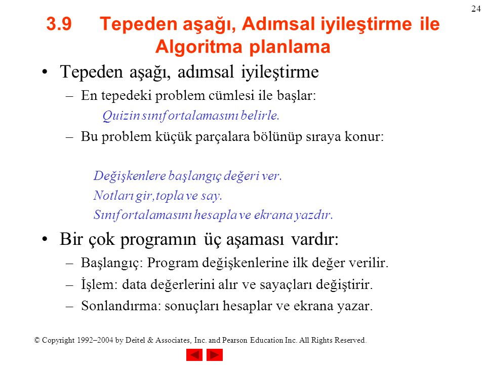© Copyright 1992–2004 by Deitel & Associates, Inc. and Pearson Education Inc. All Rights Reserved. 24 3.9 Tepeden aşağı, Adımsal iyileştirme ile Algor