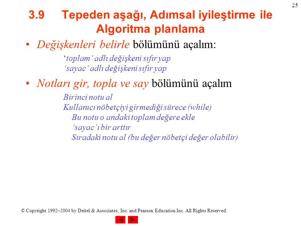 © Copyright 1992–2004 by Deitel & Associates, Inc. and Pearson Education Inc. All Rights Reserved. 25 3.9 Tepeden aşağı, Adımsal iyileştirme ile Algor