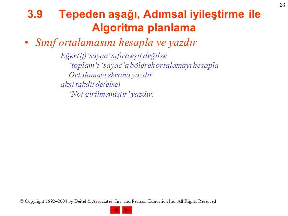 © Copyright 1992–2004 by Deitel & Associates, Inc. and Pearson Education Inc. All Rights Reserved. 26 3.9 Tepeden aşağı, Adımsal iyileştirme ile Algor