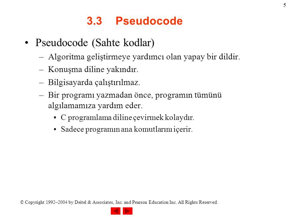© Copyright 1992–2004 by Deitel & Associates, Inc. and Pearson Education Inc. All Rights Reserved. 5 3.3Pseudocode Pseudocode (Sahte kodlar) –Algoritm