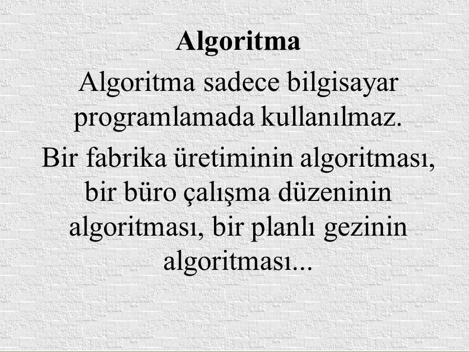 Algoritma Algoritma sadece bilgisayar programlamada kullanılmaz. Bir fabrika üretiminin algoritması, bir büro çalışma düzeninin algoritması, bir planl