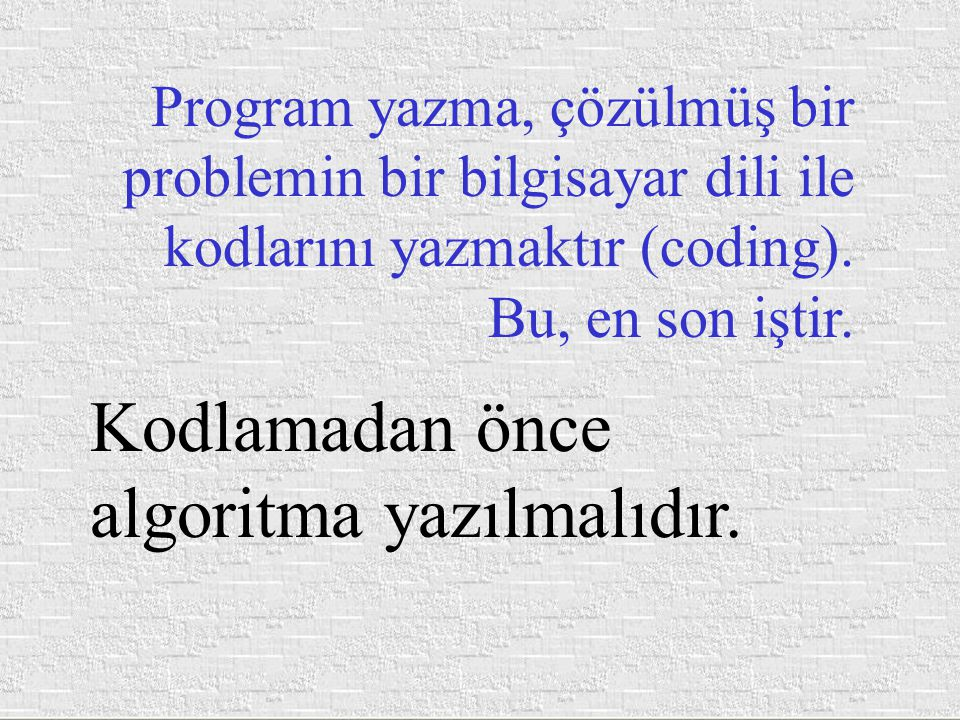 Problem çözme sırası (Problem Solving Cycle) 1.Problemi anlama (Understanding, Analyzing), 2.