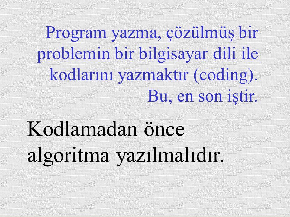 Program yazma, çözülmüş bir problemin bir bilgisayar dili ile kodlarını yazmaktır (coding). Bu, en son iştir. Kodlamadan önce algoritma yazılmalıdır.