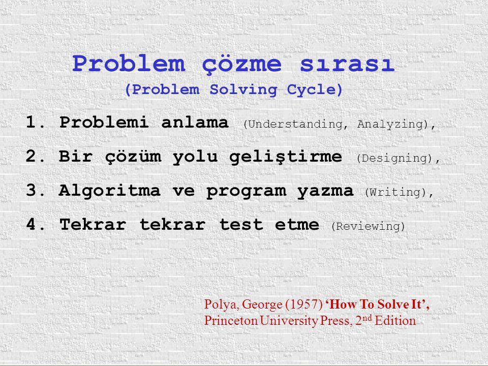 Problem çözme sırası (Problem Solving Cycle) 1. Problemi anlama (Understanding, Analyzing), 2. Bir çözüm yolu geliştirme (Designing), 3. Algoritma ve