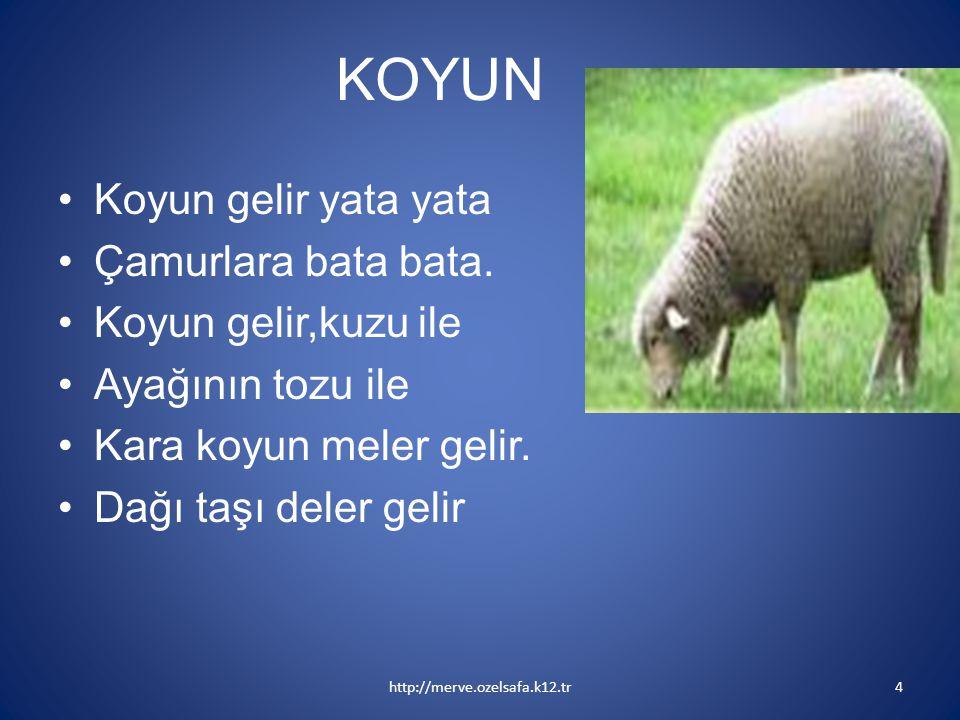 KOYUN Koyun gelir yata yata Çamurlara bata bata. Koyun gelir,kuzu ile Ayağının tozu ile Kara koyun meler gelir. Dağı taşı deler gelir http://merve.oze