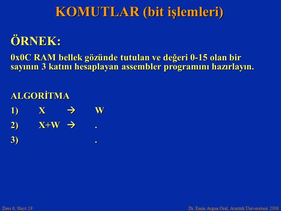 Dr. Emin Argun Oral, Atatürk Üniversitesi 2008 Ders 6, Slayt 19 KOMUTLAR (bit işlemleri) ÖRNEK: 0x0C RAM bellek gözünde tutulan ve değeri 0-15 olan bi