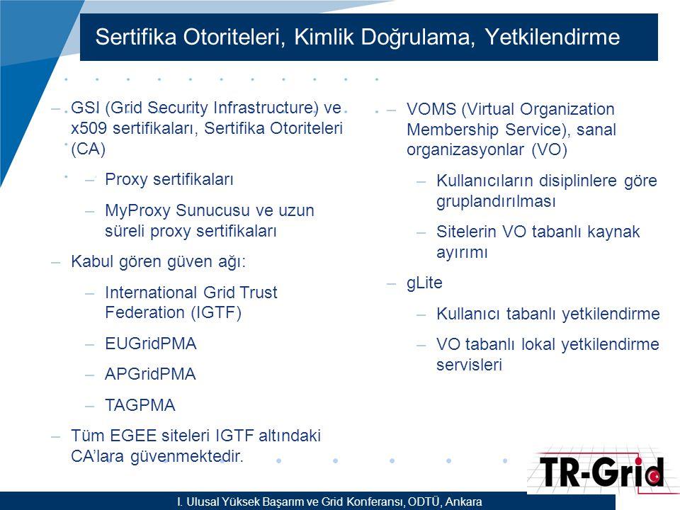 YEF @ TR-Grid Okulu, TAEK, ANKARA Sertifika Otoriteleri, Kimlik Doğrulama, Yetkilendirme I. Ulusal Yüksek Başarım ve Grid Konferansı, ODTÜ, Ankara –GS