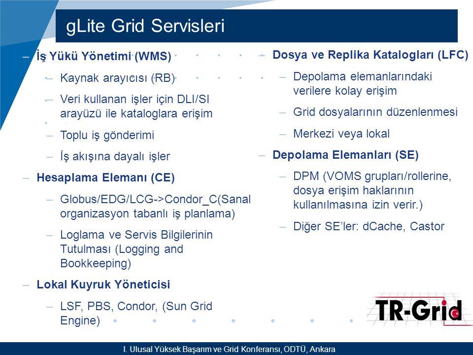 YEF @ TR-Grid Okulu, TAEK, ANKARA gLite Grid Servisleri I. Ulusal Yüksek Başarım ve Grid Konferansı, ODTÜ, Ankara –İş Yükü Yönetimi (WMS) –Kaynak aray