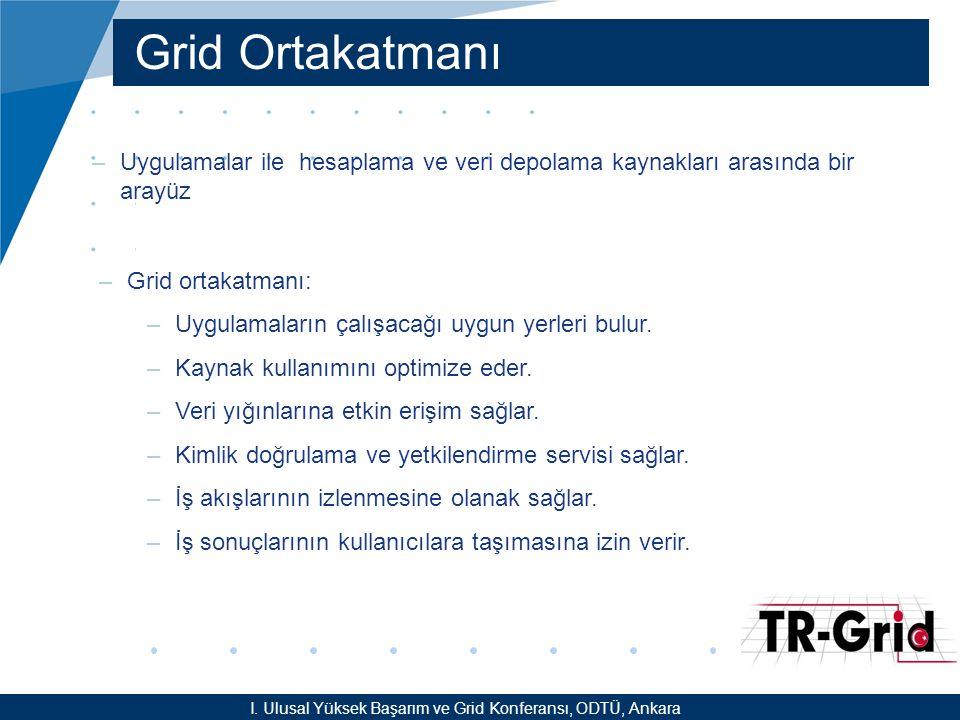 YEF @ TR-Grid Okulu, TAEK, ANKARA Grid Ortakatmanı –Uygulamalar ile hesaplama ve veri depolama kaynakları arasında bir arayüz –Grid ortakatmanı: –Uygulamaların çalışacağı uygun yerleri bulur.
