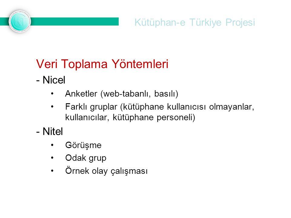 Kütüphan-e Türkiye Projesi Veri Toplama Yöntemleri - Nicel Anketler (web-tabanlı, basılı) Farklı gruplar (kütüphane kullanıcısı olmayanlar, kullanıcıl