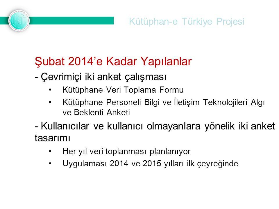 Kütüphan-e Türkiye Projesi Şubat 2014'e Kadar Yapılanlar - Çevrimiçi iki anket çalışması Kütüphane Veri Toplama Formu Kütüphane Personeli Bilgi ve İle