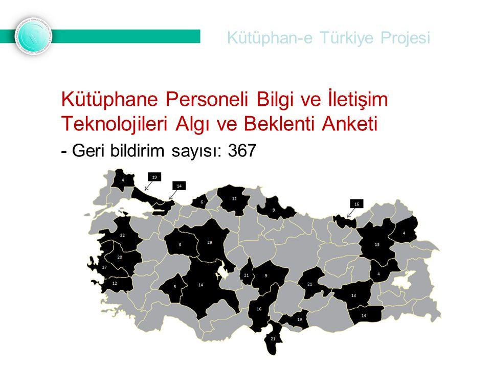 Kütüphan-e Türkiye Projesi Kütüphane Personeli Bilgi ve İletişim Teknolojileri Algı ve Beklenti Anketi - Geri bildirim sayısı: 367