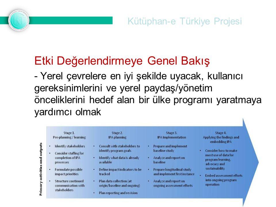 Kütüphan-e Türkiye Projesi Etki Değerlendirmeye Genel Bakış - Yerel çevrelere en iyi şekilde uyacak, kullanıcı gereksinimlerini ve yerel paydaş/yöneti
