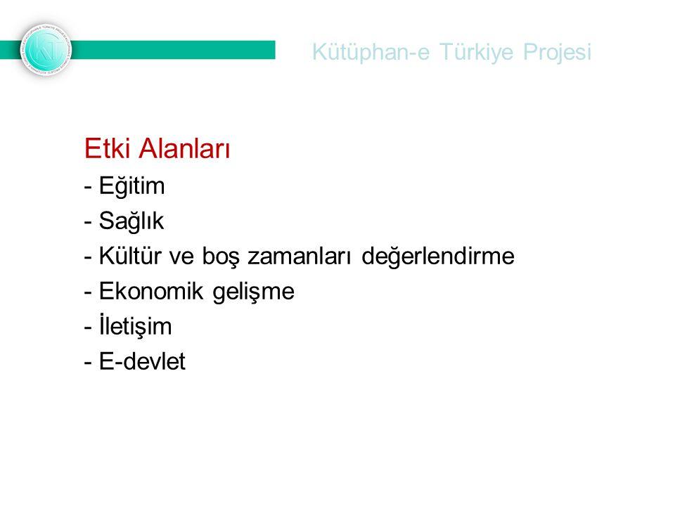 Kütüphan-e Türkiye Projesi Etki Alanları - Eğitim - Sağlık - Kültür ve boş zamanları değerlendirme - Ekonomik gelişme - İletişim - E-devlet