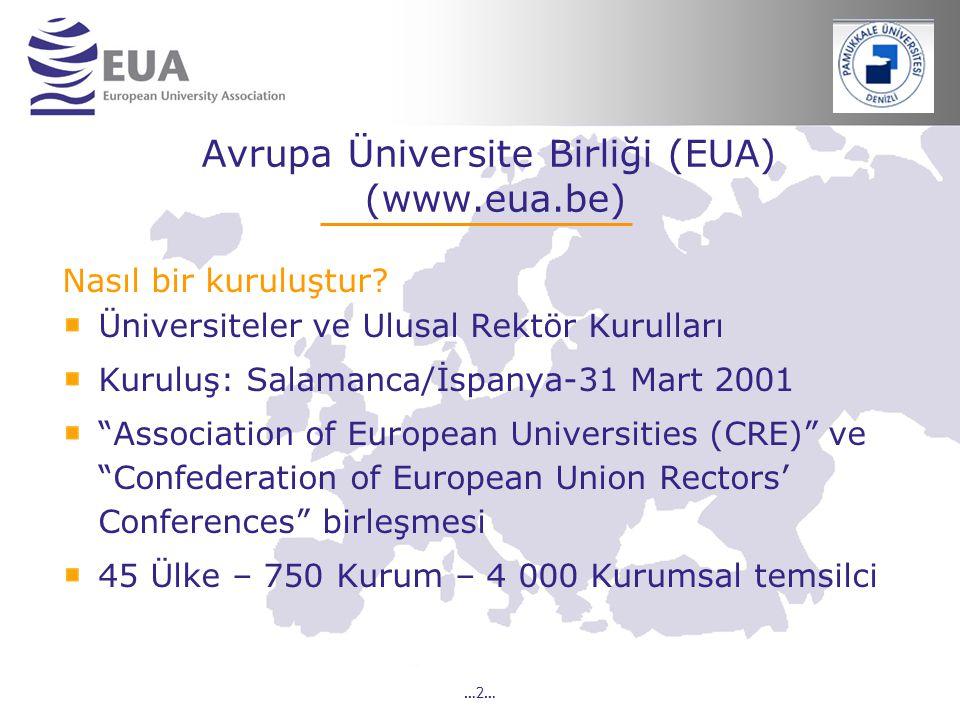…2… Avrupa Üniversite Birliği (EUA) (www.eua.be) Nasıl bir kuruluştur? Üniversiteler ve Ulusal Rektör Kurulları Kuruluş: Salamanca/İspanya-31 Mart 200