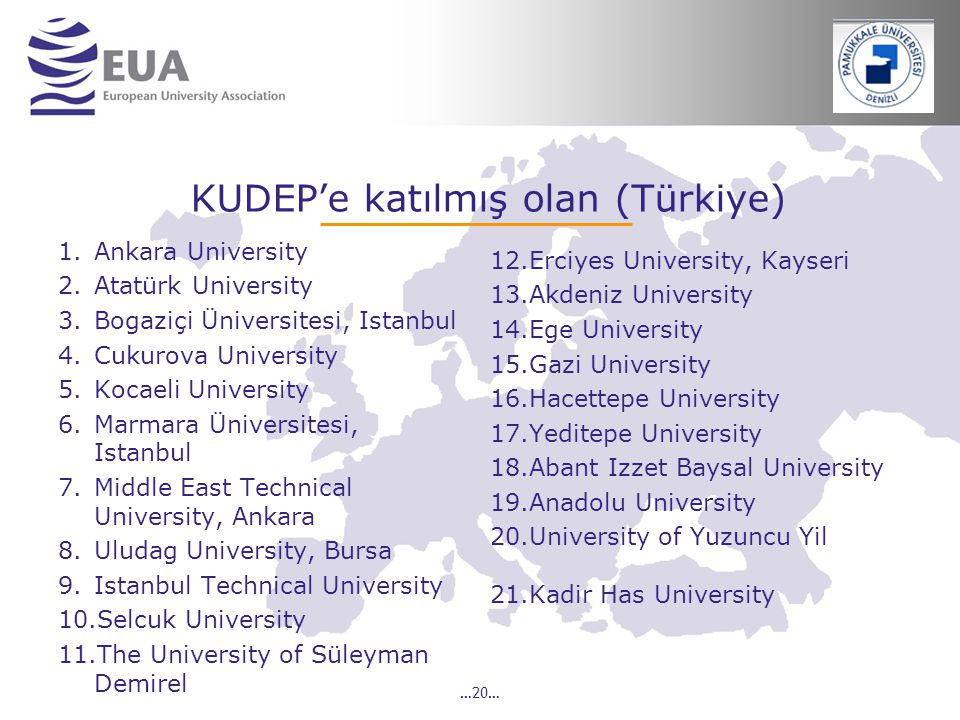 …20… KUDEP'e katılmış olan (Türkiye) 1.Ankara University 2.Atatürk University 3.Bogaziçi Üniversitesi, Istanbul 4.Cukurova University 5.Kocaeli University 6.Marmara Üniversitesi, Istanbul 7.Middle East Technical University, Ankara 8.Uludag University, Bursa 9.Istanbul Technical University 10.Selcuk University 11.The University of Süleyman Demirel 12.Erciyes University, Kayseri 13.Akdeniz University 14.Ege University 15.Gazi University 16.Hacettepe University 17.Yeditepe University 18.Abant Izzet Baysal University 19.Anadolu University 20.University of Yuzuncu Yil 21.Kadir Has University