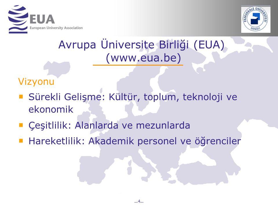 …4… Avrupa Üniversite Birliği (EUA) (www.eua.be) Vizyonu Sürekli Gelişme: Kültür, toplum, teknoloji ve ekonomik Çeşitlilik: Alanlarda ve mezunlarda Ha