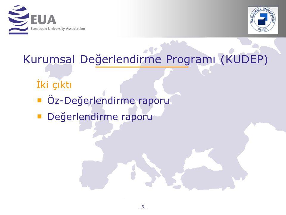 …9… Kurumsal Değerlendirme Programı (KUDEP) İki çıktı Öz-Değerlendirme raporu Değerlendirme raporu