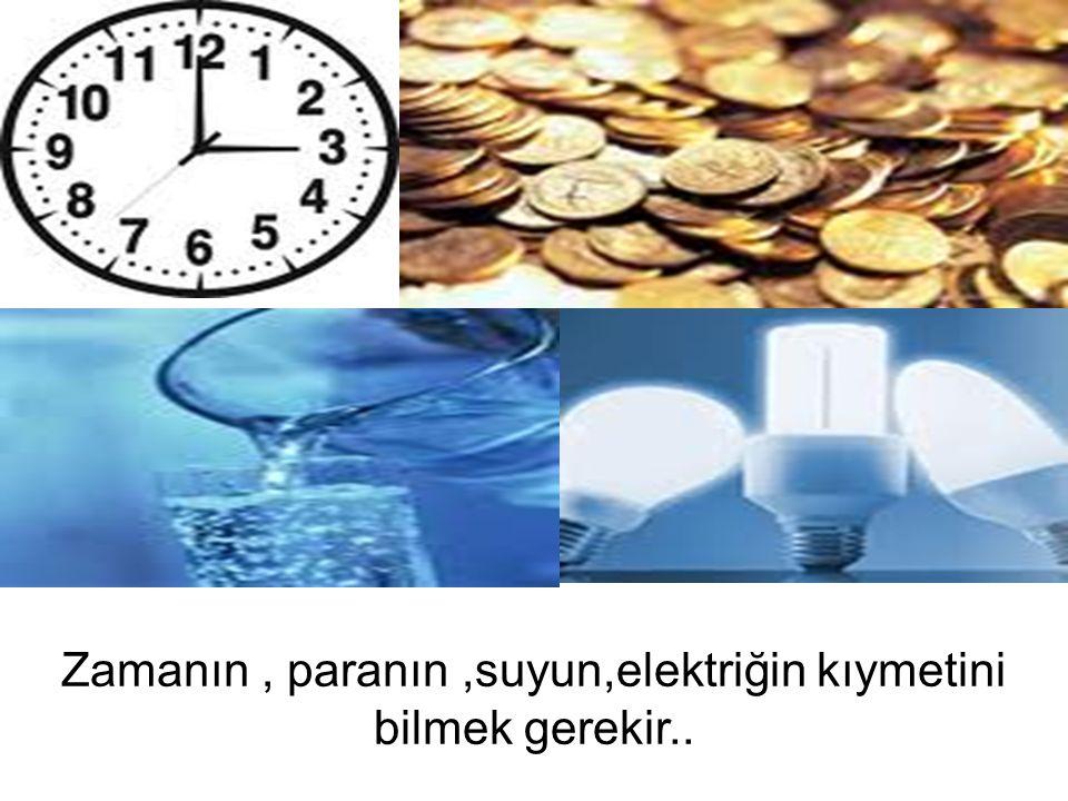 Zamanın, paranın,suyun,elektriğin kıymetini bilmek gerekir..