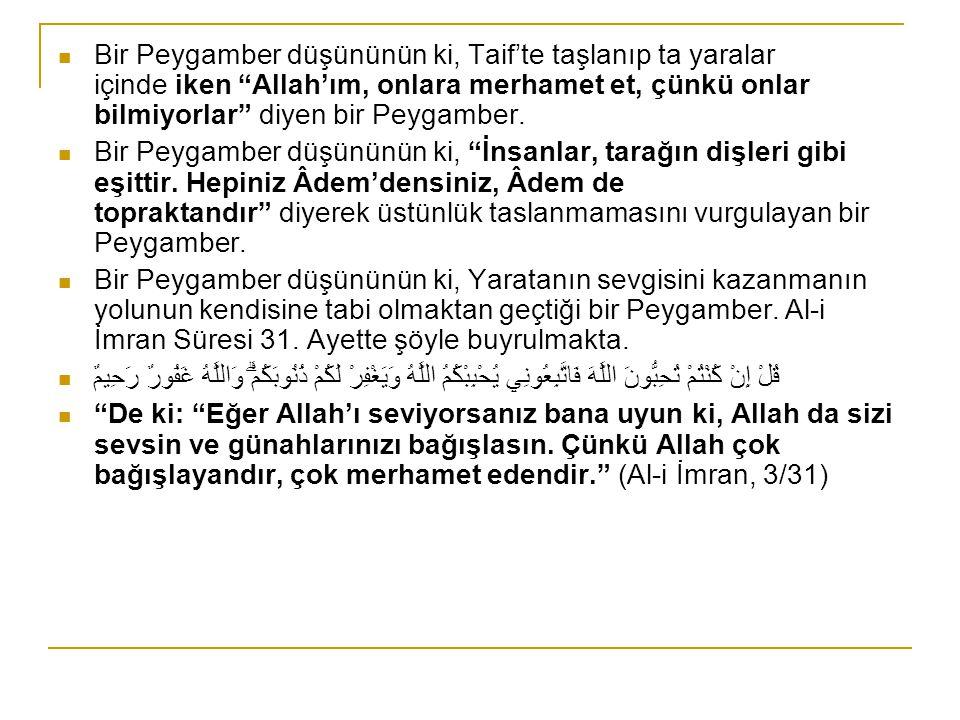 """Bir Peygamber düşününün ki, Taif'te taşlanıp ta yaralar içinde iken """"Allah'ım, onlara merhamet et, çünkü onlar bilmiyorlar"""" diyen bir Peygamber. Bir P"""
