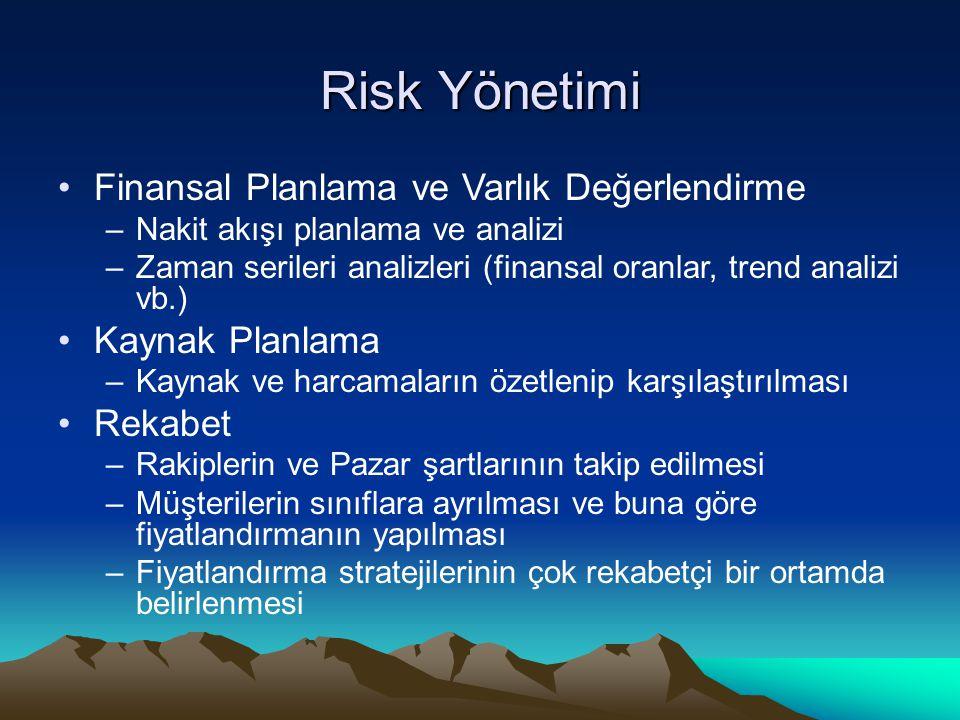 Risk Yönetimi Finansal Planlama ve Varlık Değerlendirme –Nakit akışı planlama ve analizi –Zaman serileri analizleri (finansal oranlar, trend analizi v