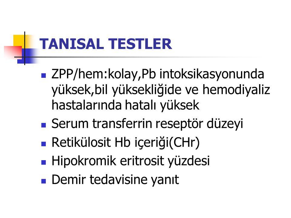TANISAL TESTLER ZPP/hem:kolay,Pb intoksikasyonunda yüksek,bil yüksekliğide ve hemodiyaliz hastalarında hatalı yüksek Serum transferrin reseptör düzeyi