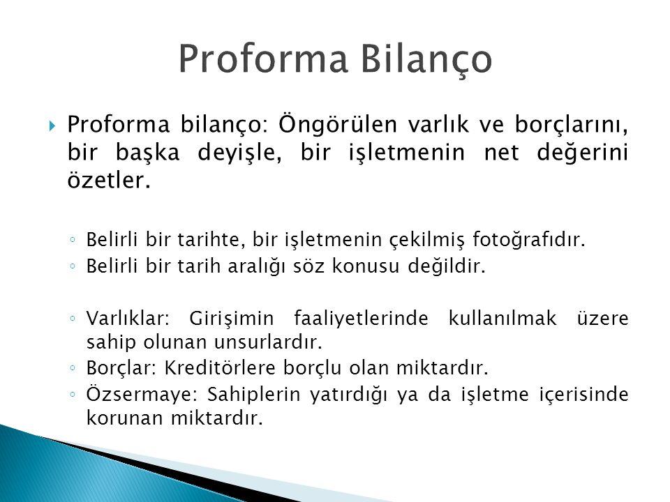  Proforma bilanço: Öngörülen varlık ve borçlarını, bir başka deyişle, bir işletmenin net değerini özetler. ◦ Belirli bir tarihte, bir işletmenin çeki