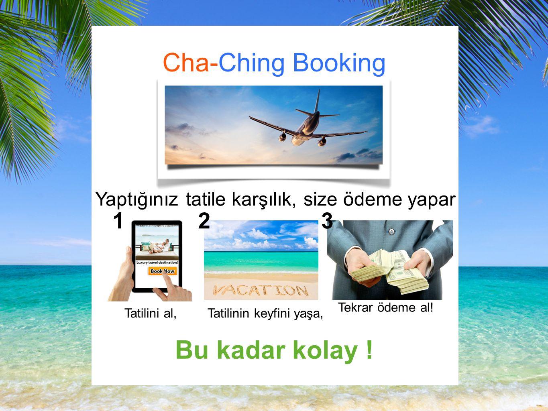 Cha-Ching Booking Yaptığınız tatile karşılık, size ödeme yapar Tatilini al, Tatilinin keyfini yaşa, Tekrar ödeme al.