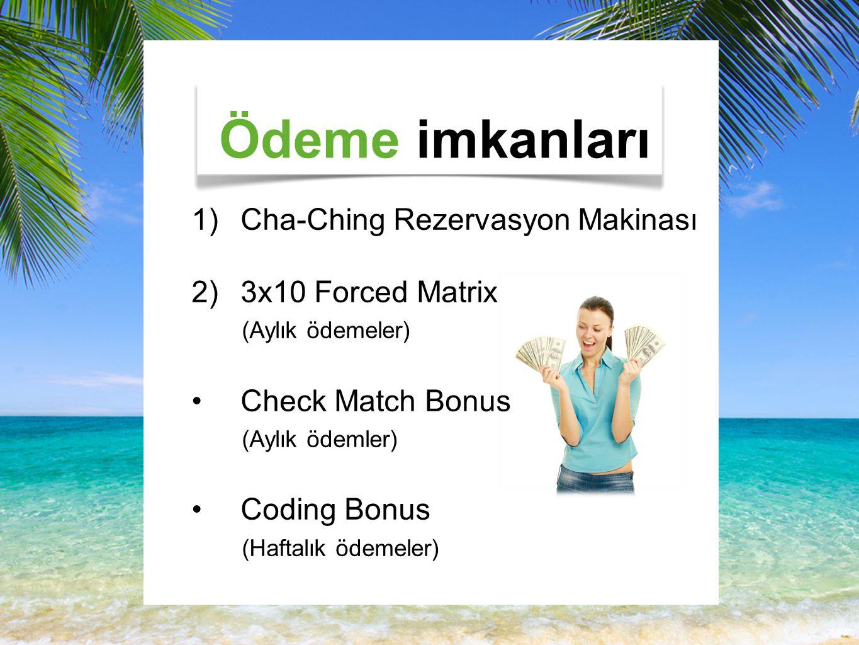 Ödeme imkanları 1)Cha-Ching Rezervasyon Makinası 2)3x10 Forced Matrix (Aylık ödemeler) Check Match Bonus (Aylık ödemler) Coding Bonus (Haftalık ödemeler)