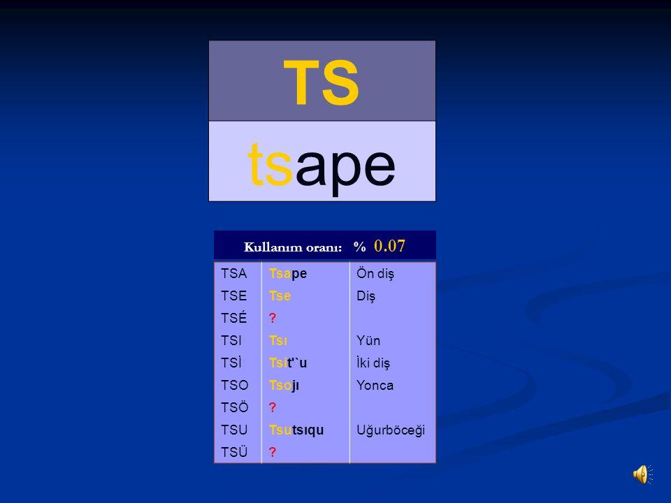TS' ts'ap'o TS'ATs'ap'oArsız TS'ETs'eAd TS'É? TS'ITs'ıneIslak TS'İHamts'iyÇavdar TS'O? TS'Ö? TS'UKants'uvKaval TS'Ü? Kullanım oranı: % 0.26