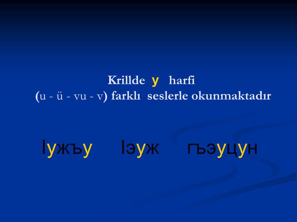 бгы лъагэ бэгу гупсэф Krillde г harfi ( ğ' g ) farklı seslerle okunmaktadır