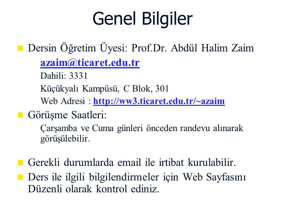 Genel Bilgiler Dersin Öğretim Üyesi: Prof.Dr. Abdül Halim Zaim   azaim@ticaret.edu.tr   Dahili: 3331   Küçükyalı Kampüsü, C Blok, 301   Web Ad