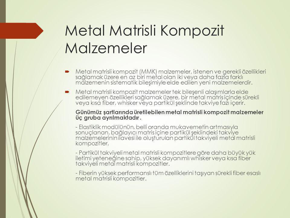 Metal Matrisli Kompozit Malzemeler  Metal matrisli kompozit (MMK) malzemeler, istenen ve gerekli özellikleri sağlamak üzere en az biri metal olan iki veya daha fazla farklı malzemenin sistematik bileşimiyle elde edilen yeni malzemelerdir.